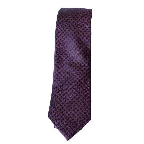 MICHAEL KORS Burgundy Gingham Solid Tail Silk Tie